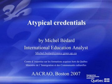 Atypical Credentials: Assessing the Likelihood of ... - AACRAO