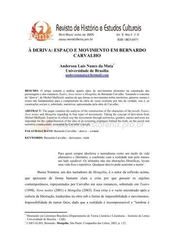 à deriva: espaço e movimento em bernardo carvalho - Revista de ...