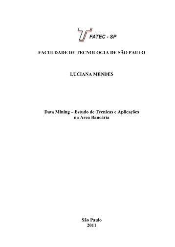 Estudo de Técnicas e Aplicações na Área Bancária - Fatec