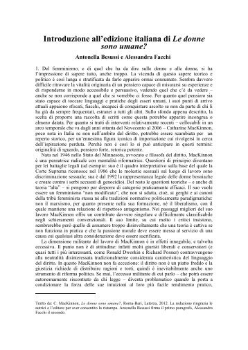 Introduzione all'edizione italiana di Le donne sono ... - Jura Gentium