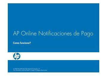 AP Online Notificaciones de Pago - Hewlett-Packard