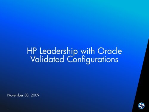 HP Leadership With Oracle Validated Configurations