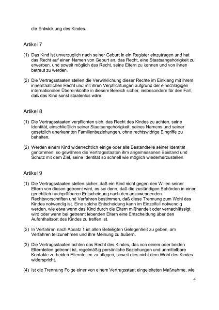 Die Konvention der Rechte des Kindes - Deutscher ...