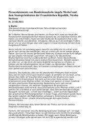 Pressestatements von Bundeskanzlerin Angela Merkel und dem ...