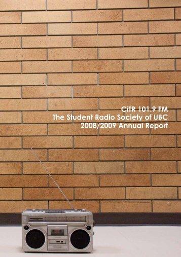 Annual Report 2008-09 - CiTR 101.9 FM