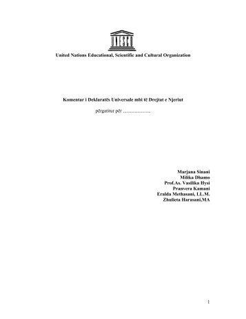 UNESCO: Komentar i Deklarates Universale mbi te ... - Milika Dhamo