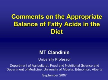 Comments on the Appropriate Balance of Fatty Acids in the Diet