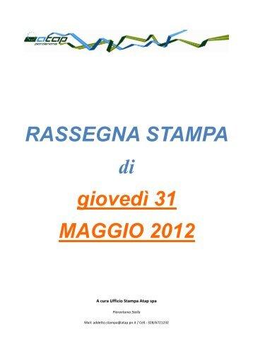 Rassegna stampa di giovedì 31 maggio 2012 - Atap