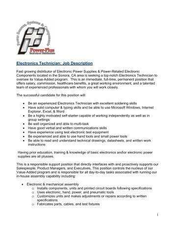electronics technician job description power plus