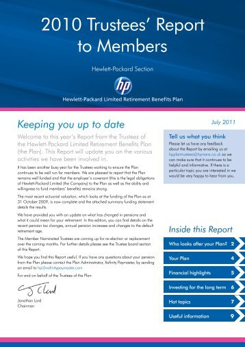2010 Trustees' Report to Members - Hewlett Packard Ltd