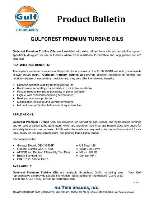 Gulfcrest Premium Turbine Oil 100 - Gulf Lubricants