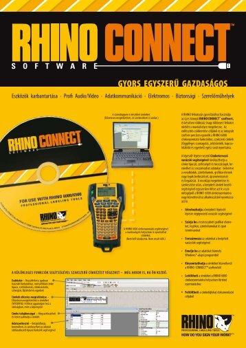 RHINO CONNECT szoftver szórólapja - DYMO