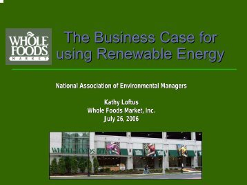 The Business Case for using Renewable Energy - NAEM