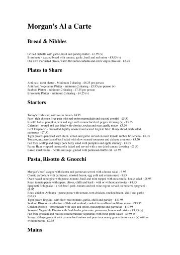 Morgans Sample A La Carte Menu