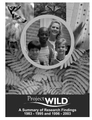 A Summary of Research Findings 1983 - 1995 and 1996 - Project Wild