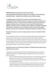 Mobilité électrique en Suisse: plus de chances que de risques Une ...