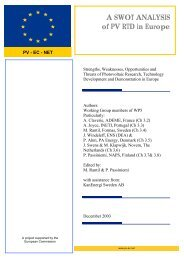 A SWOT ANALYSIS of PV RTD in Europe