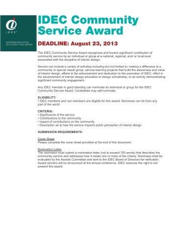 IDEC Community Service Award