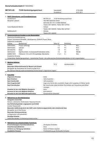 Metaflux 75-09 Sicherheitsdatenblatt