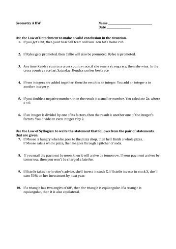 Law Of Syllogism Worksheet