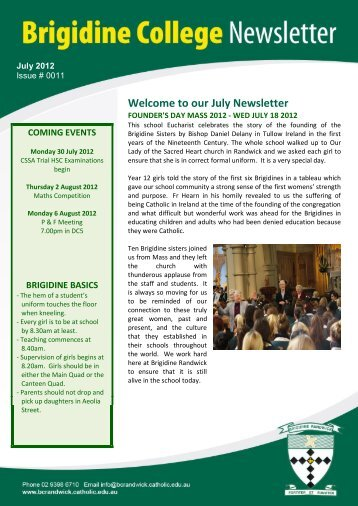Welcome to our July Newsletter - Brigidine College Randwick