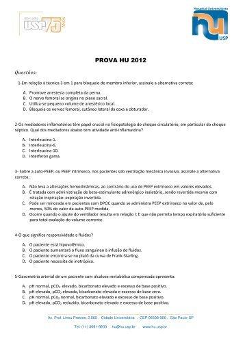 PROVA HU 2012 - Hospital Universitário – USP