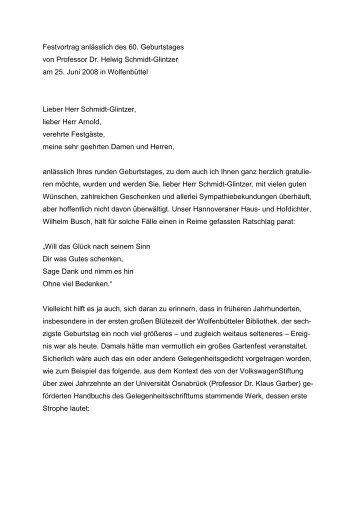 Perfekt Geburtstag. Festvortrag Anlässlich Des 60. Geburtstages Von Professor Dr ..