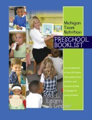 Michigan Team Nutrition Preschool Booklist - State of Michigan