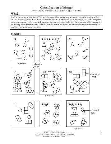Classification of Matter Worksheet Name ...