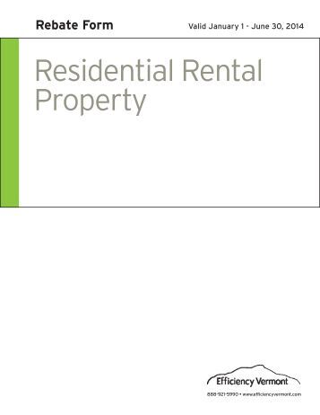 Residential Rental Property Rebate Form - Efficiency Vermont