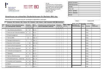 Anrechnung von erbrachten Studienleistungen für Bachelor Wirt.-Ing.