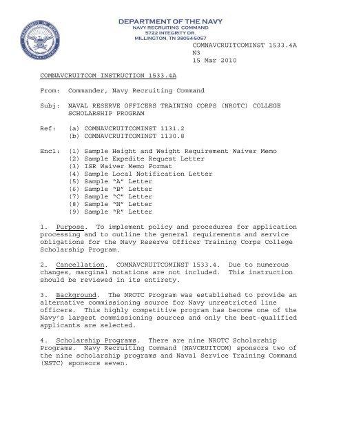 COMNAVCRUITCOMINST 1533 4A N3 15 Mar 2010     - NNOA