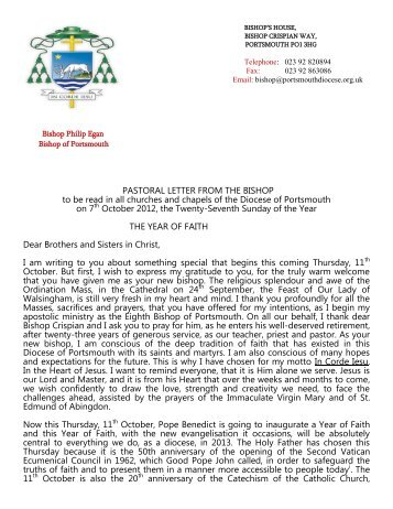 to view the Year of Faith Pastoral Letter PDF.