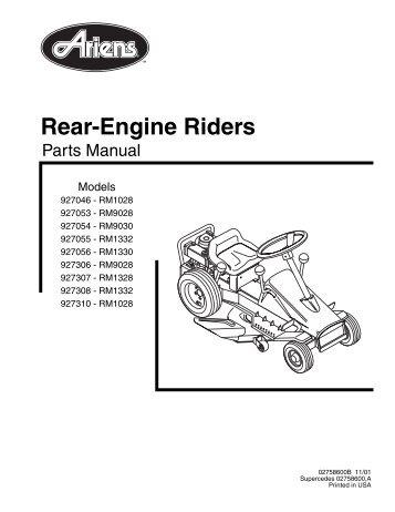 SNAPPER Rear Engine Rider Specs: 2812523BVE Engine: Briggs