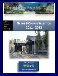 Grade 9 Course Selection 2011 - 2012 - Surrey School District 36