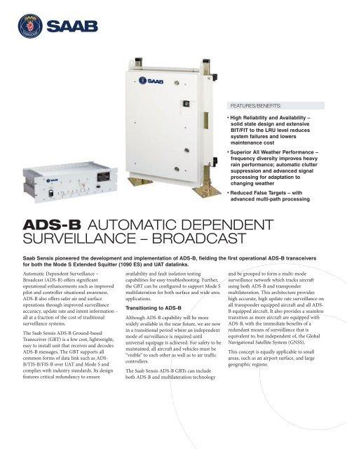 ads-b automatic dependent surveillance – broadcast - Saab