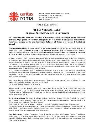 Comunicato stampa - Caritas Roma