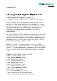 sportdigital überträgt Hockey-WM 2010