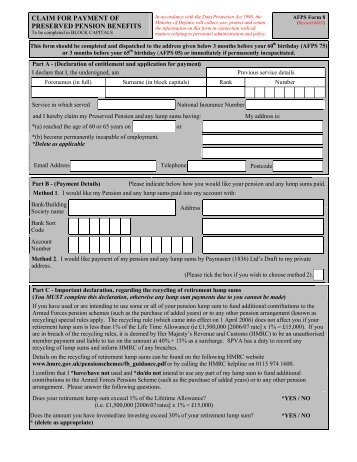 Afps Pensions Form 1 Pdf - Ministry Of Defence