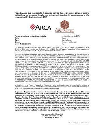 Reporte Anual 2011 Arca Continental
