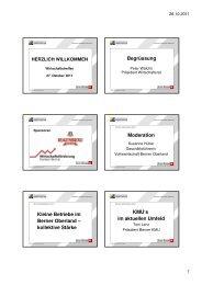 Präsentation Wirtschaftstreffen 2011 - Volkswirtschaft Berner Oberland