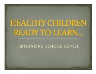 RETHINKING SCHOOL LUNCH - Plymouth School District