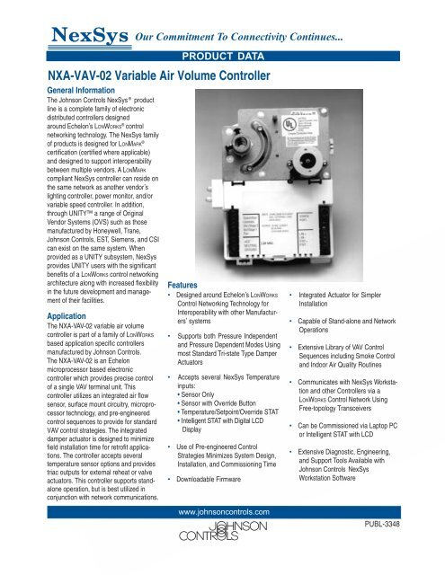 NXA-VAV-02 Variable Air Volume Controller     - Johnson Controls