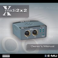 Manual for E-Mu Xmidi 2X2 USB MIDI interface