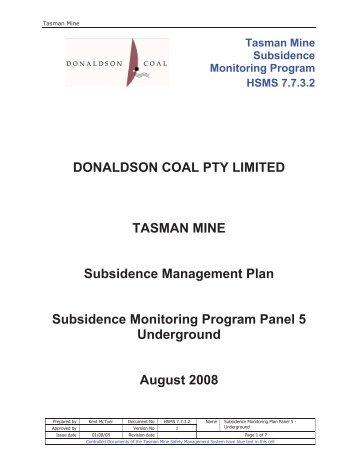 Underground Subsidence Monitoring Program
