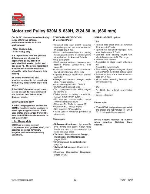 Motorized Pulley 630M & 630H, Ø 24 80 in  (630 mm) - Rulmeca