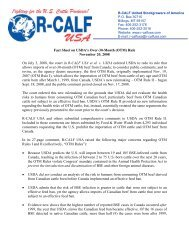 Fact Sheet on USDA's Over Thirty Month Rule - R-Calf