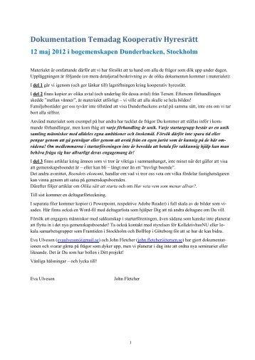 Rapport från temadagen i pdf-format. - Kollektivhus NU