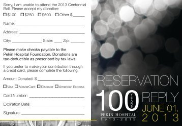 RESERVATION REPLY - Pekin Hospital