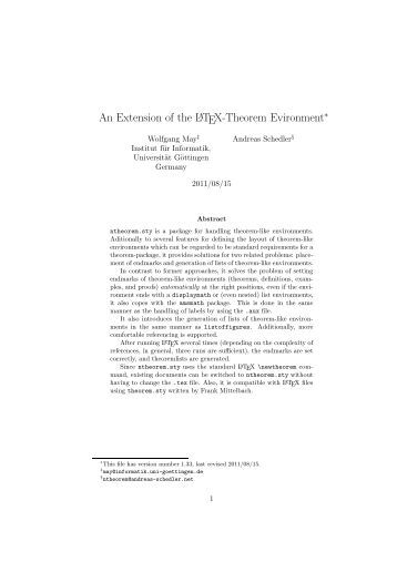 An Extension of the LATEX-Theorem Evironment - CTAN